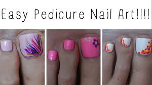 Easy Pedicure Nail Art!!! Three Cute Designs! - YouTube