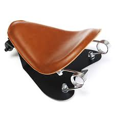 brown leather solo seat pan frame cover barrel spring for bobber custom com