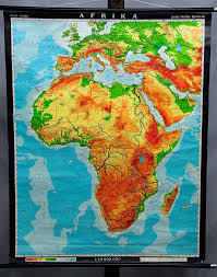 Africa Vintage Decoration Item Rollable School Map Wall Chart Poster Print