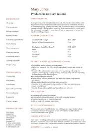 no work experience production assistant resume ...
