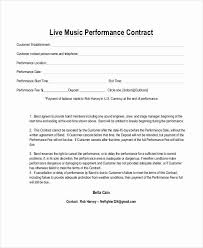 Artist Performance Contract Template Fresh Live Promoter