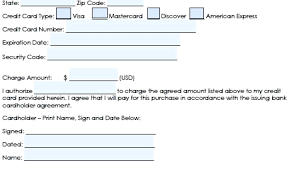 Credit Card On File Form Templates Credit Card Authorization Forms O Form Template Free