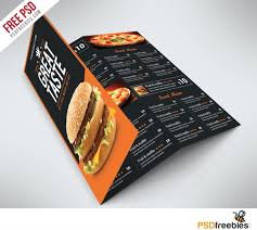free food menu templates fast food menu trifold brochure free psd psdfreebies com