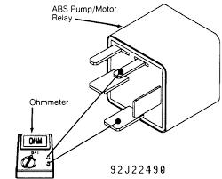Fig 16 measuring abs pump motor relay resistance