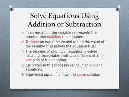 2 solve equations using addition or subtraction