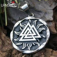 lanseis10pcs the valknut viking pendant viking necklace scandinavian norse viking jewelry norway men necklace