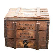 waterford glass ltd vintage wooden crate ebth throughout crates decorations 5