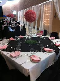 Paris Theme table setting pink and black