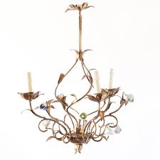 gilded iron chandelier with flowers from italy