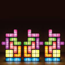tetris diy constructible retro game style stackable led desk lamp