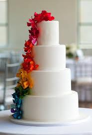 beautiful wedding cake. white wedding cake with rainbow sugar flowers beautiful