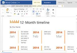 One Year Timeline Template 12 Month Timeline Template For Word Online