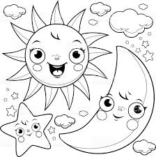 Small Picture Sun Moon And Stars Coloring Page stock vector art 612012810 iStock