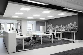 interior design for office furniture. O-02 A Modern Office Design With London Decal On The Wall. Beautiful High White Furniture Interior For W