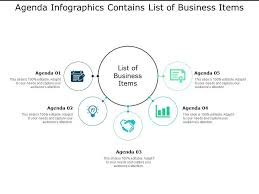 Agenda List Agenda Infographics Contains List Of Business Items
