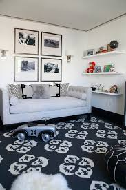 Smart Kids Playroom Ideas With Black White Color Schemes And Pattern Area  Rug And Tufted Daybed Furniture And Picture Wall Frame And Floating Wall  Shelves ...