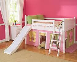 Maxtrix Full Size Low Loft Bed with Angle Ladder for Girls Kids