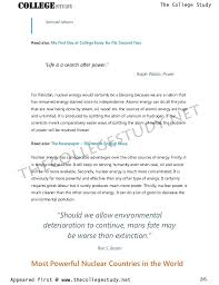 Short College Essay 10 Short Essay On Nuclear Energy Boon Or Bane The College Study