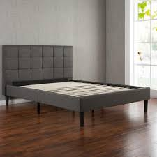 Upholstered platform bed frame Gray Greenhome123 Grey Upholstered Platform Bed Frame With Wooden Slats And Padded Headboard In Twin Full Queen King Rakutencom Greenhome123 Grey Upholstered Platform Bed Frame With Wooden Slats