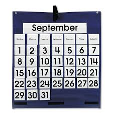 Pocket Chart Officeworks Monthly Calendar 43 Pocket Chart With Day Week Cards Blue 25 X 28 1 2