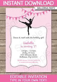 Birthday Invitation Templates Free Download Ballerina Party Invitations Template Birthday Party