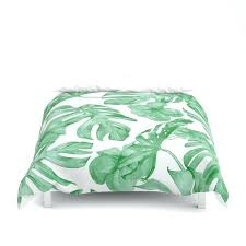 green and white duvet cover tropical island leaves on gingham check