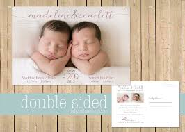twin birth announcements photo cards twin birth announcement thank you card double sided twins