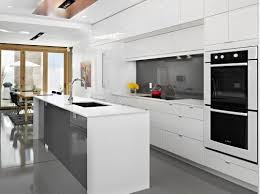 modern white and gray kitchen. Image Of: Modern White Kitchen Decor And Gray