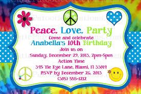 Tie Dye Hippie Chick Birthday Party Invitations Printable