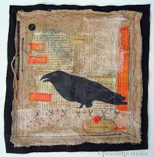 peaceofpi studio: In the Crow's Nest Mixed Media Art Quilt & In the Crow's Nest 11 X 11 inches, Mixed Media, is an Art Quilt inspired by  the resourcefulness and spirit of the everyday crow. This piece combines  fabric, ... Adamdwight.com