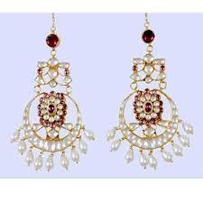 chandelier earrings indian 22k gold plated bollywood kundan