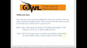 Mla Works Cited Owl