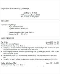Sample Of Resume For Part Time Job By Student Sample Resume For