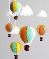 vintage hot air balloon baby mobile orange grey by onfaceco 60 00