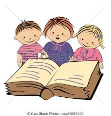 vector children reading a book