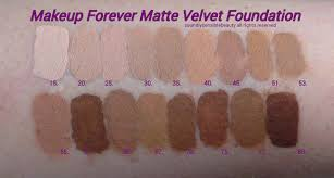 makeup forever m u f e mat matte velvet foundation review swatches of shades