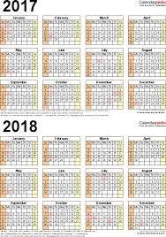 2017 2018 calendar free printable two year excel calendars