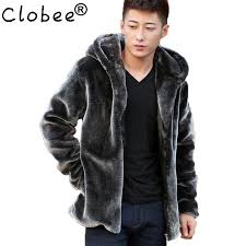 2019 fashion mens faux fur coats faux mink coat men hooded luxury winter leather suede jacket men biker pelts male jackets blue from clothwelldone