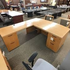 used kimball left l shaped executive office desk maple del1498 005