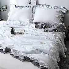 moowoo pom poms duvet cover set white