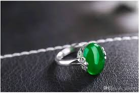 2019 whole natural gemstone jewelry retro rings adjule jade stone silver solire ring design for women enement gift from jane012