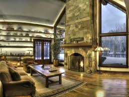wooden vaulted ceiling with stone fireplace for traditional remodeling family room ideas