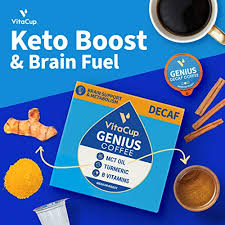 Posted by 4 years ago. Vitacup Decaf Genius Keto Coffee Pods With Mct Oil Turmeric And Vitamins B1 B5 B6 B9