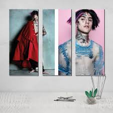 Lil Peep Triptych 3 Panel Wall Art Photo Canvas Poster Tableau ...