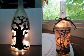 Decorative Wine Bottles With Lights 100 DIY Halloween decor ideas to frighten trickortreaters HomeCrux 76