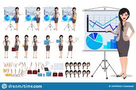 Woman Business Character Vector Set Female Office Person