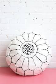 Black And White Pouf Pouf Moroccan Ottoman Footstool White Leather Baba Souk Boho Decor
