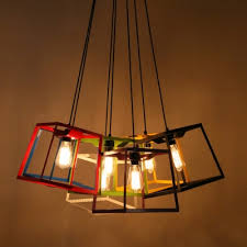 colorful pendant lighting. Chic And Colorful Wrought Iron Cube Cage 9.8\u201dWide Designer Mini Pendant Lighting L