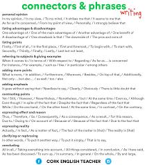 Cork English Teacher Writing Connectors Phrases Esl