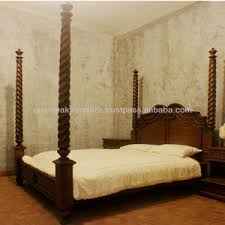 Antique Four Poster Canopy Mahogany Wooden Bed Carved - Espania